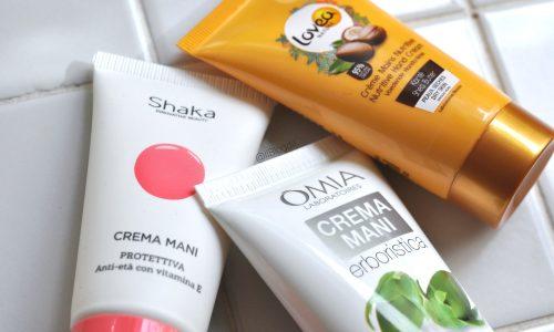 3 Creme mani a confronto: Protettiva Shaka, All'olio di jojoba Omia Laboratoires & Nutriente Lovea