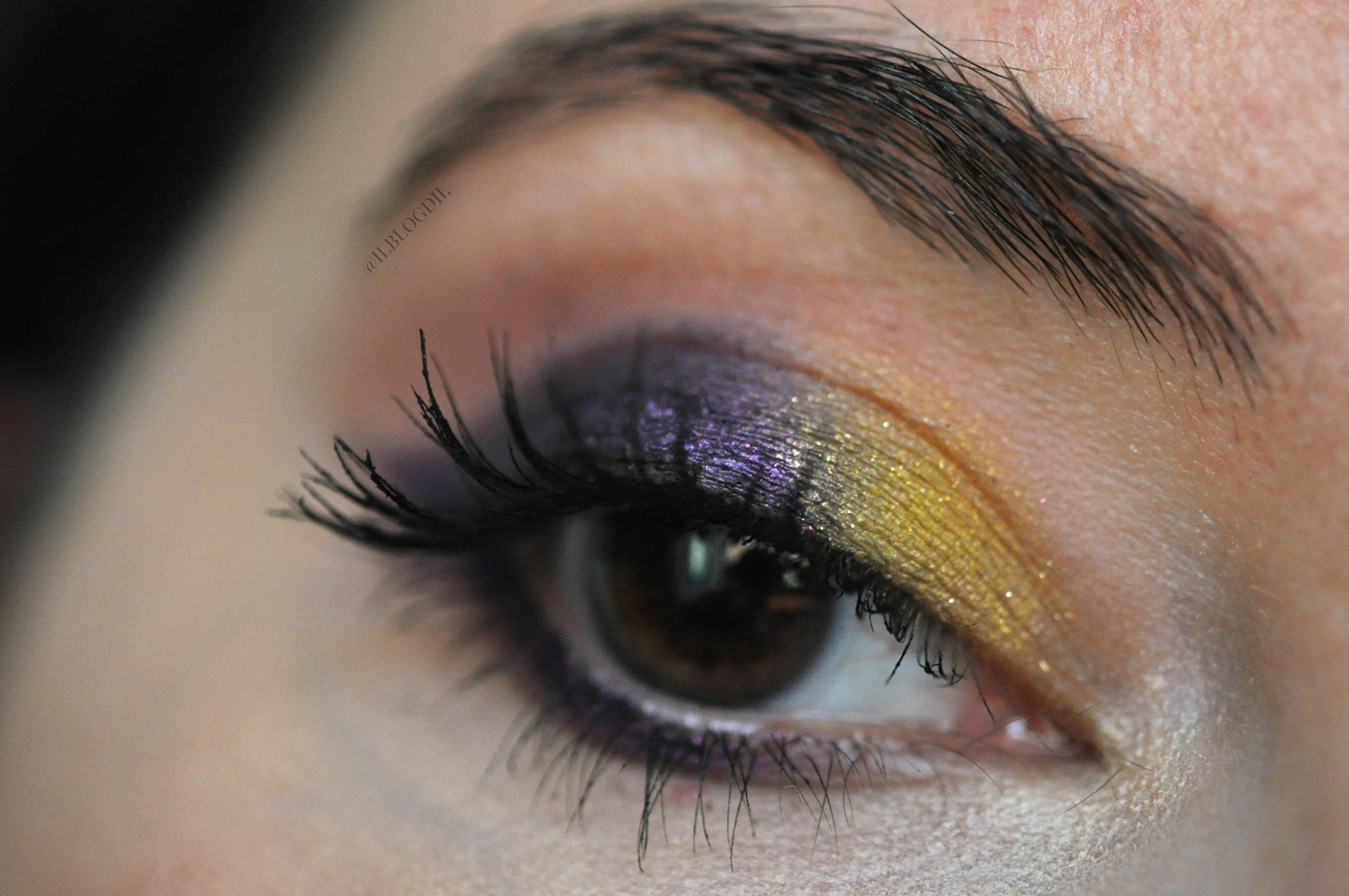makeup giallo e viola
