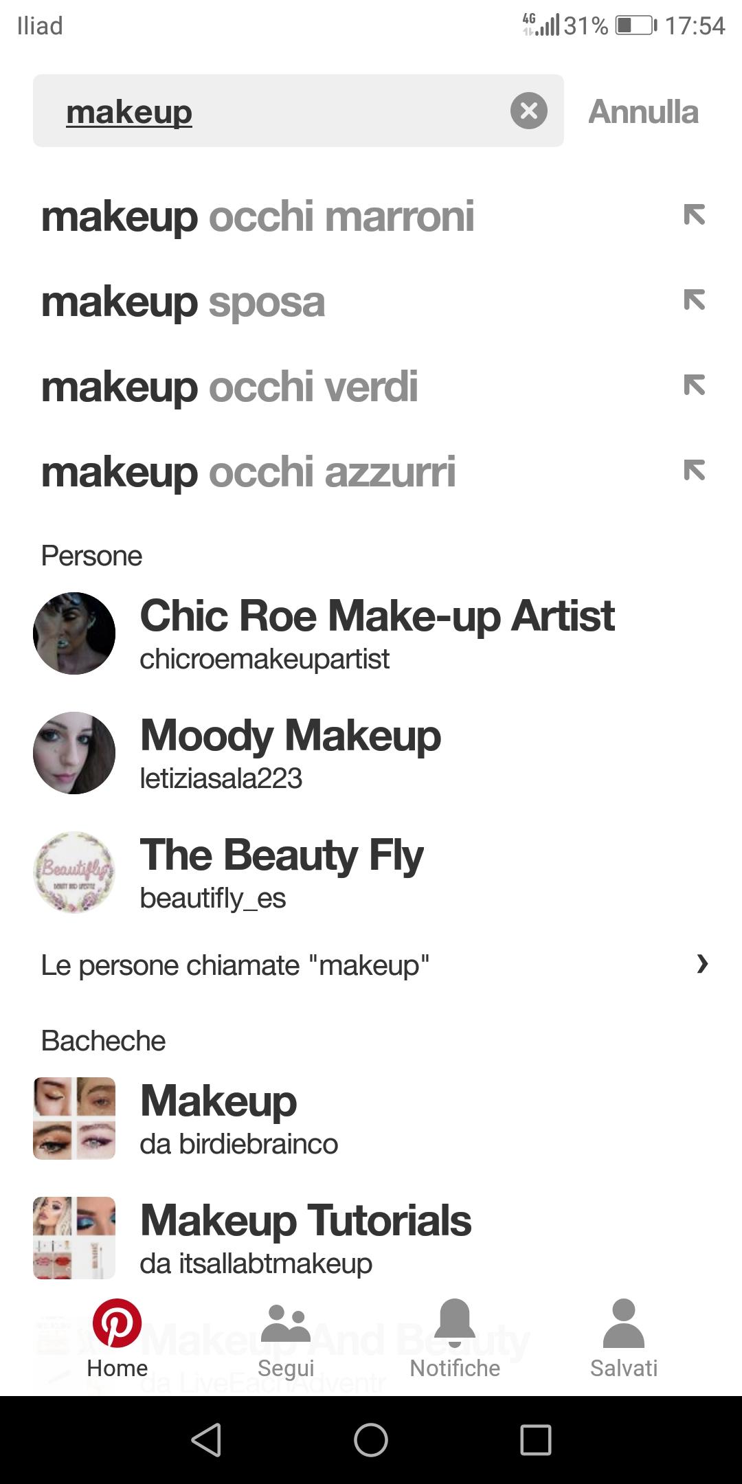 Funzione cerca su Pinterest